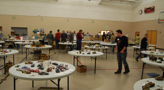 Models are laid out for easy viewing by judges and visitors
